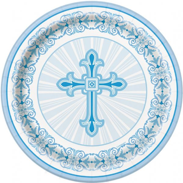 Radiant Cross Blue- Dinner Plates 18cm (8)